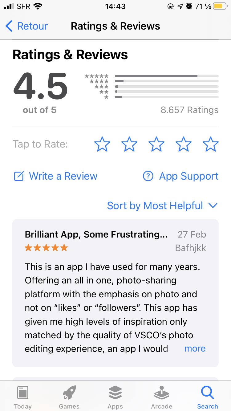 VSCO app store feedback