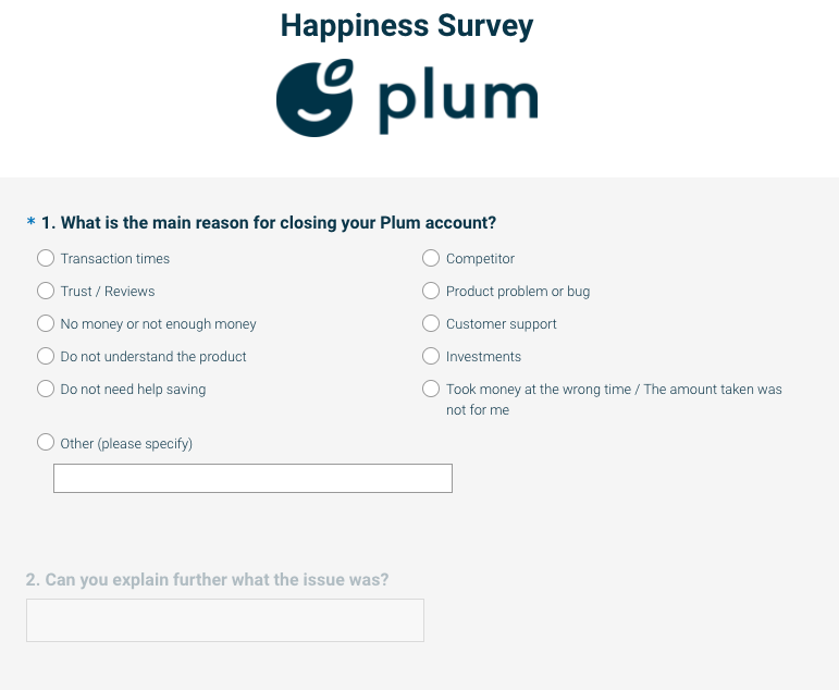 Happiness survey from Plum