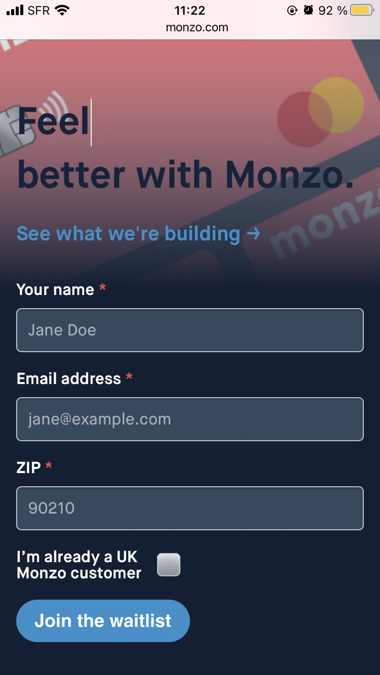 Monzo product landing page